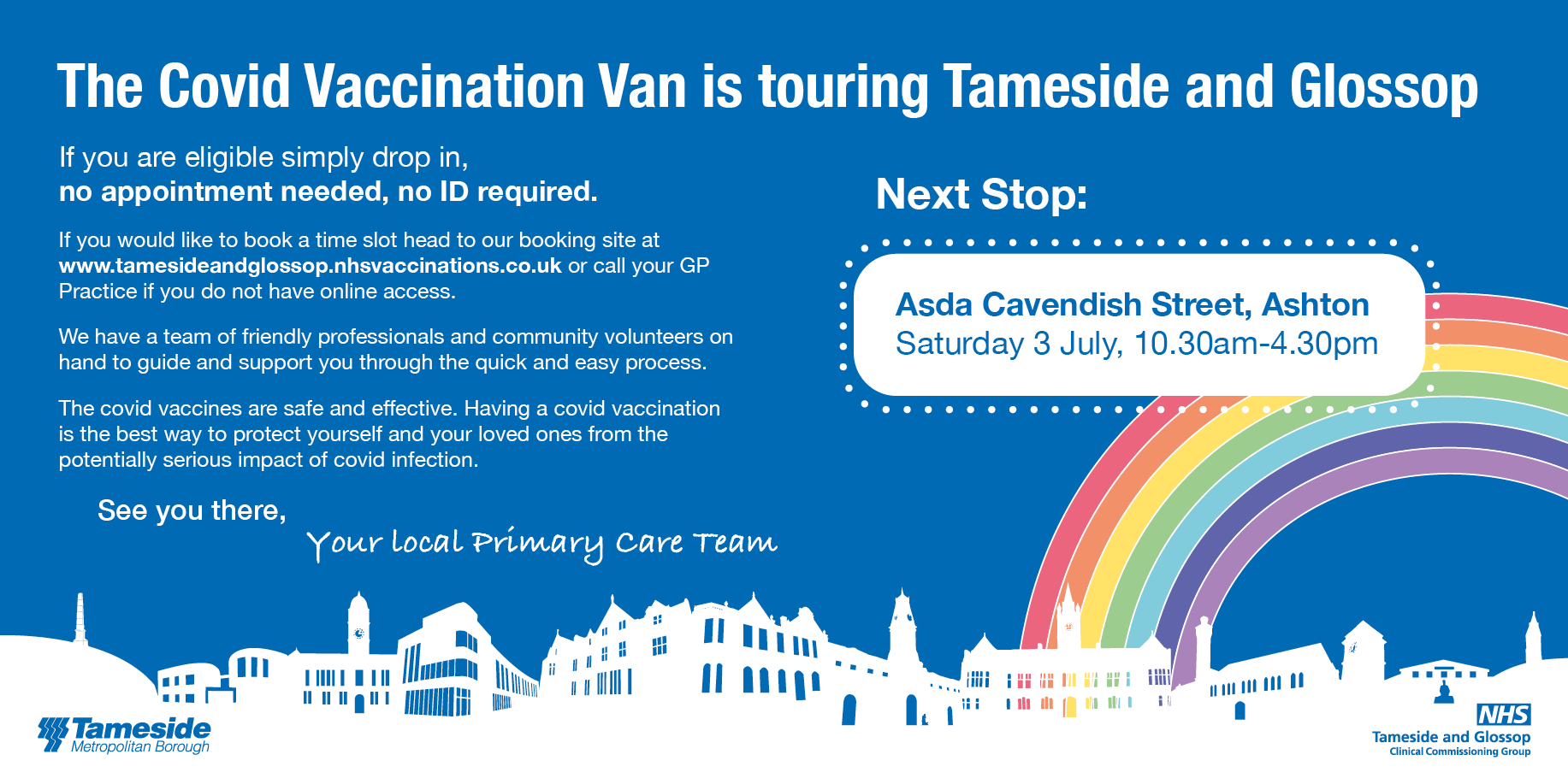 banner reading the covid vaccination an is touring tamside and glossop